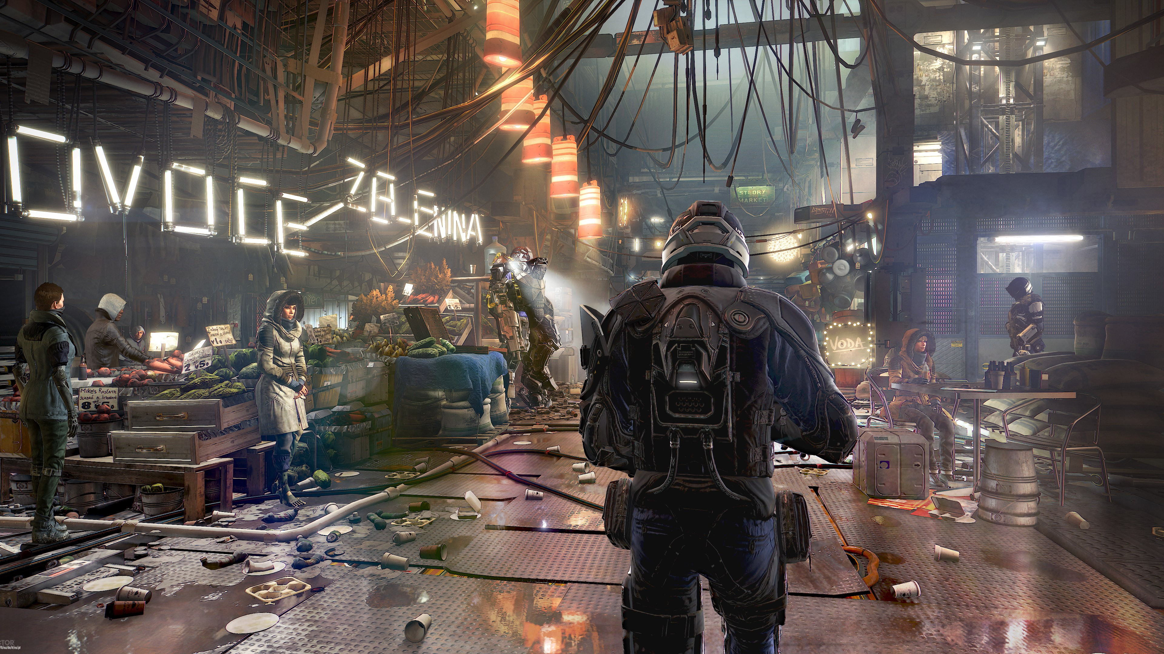 Главный герой на освещенном неоновым светом рынке в поисках террориста