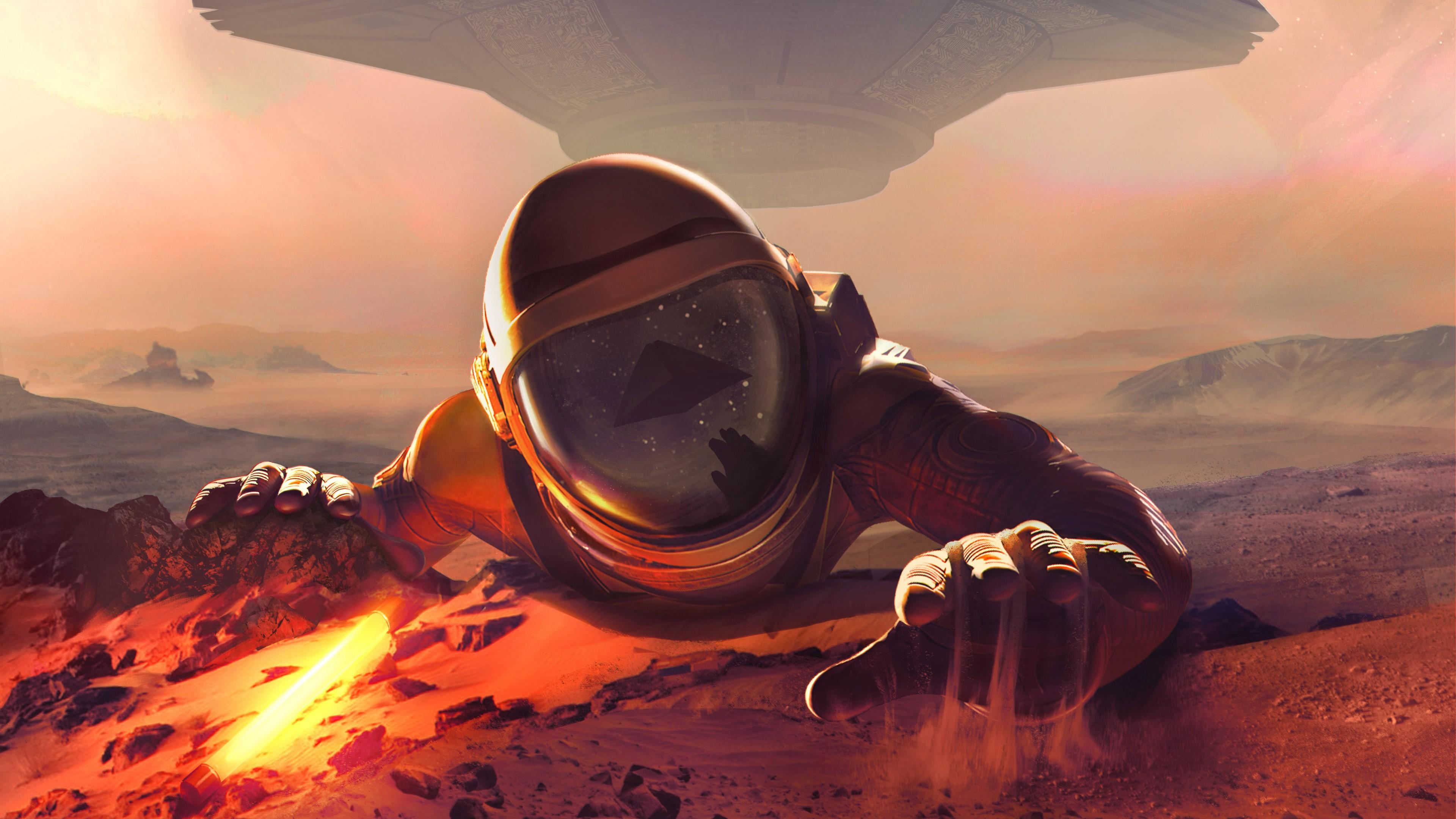 Космонавт в скафандре на красной огненной планете