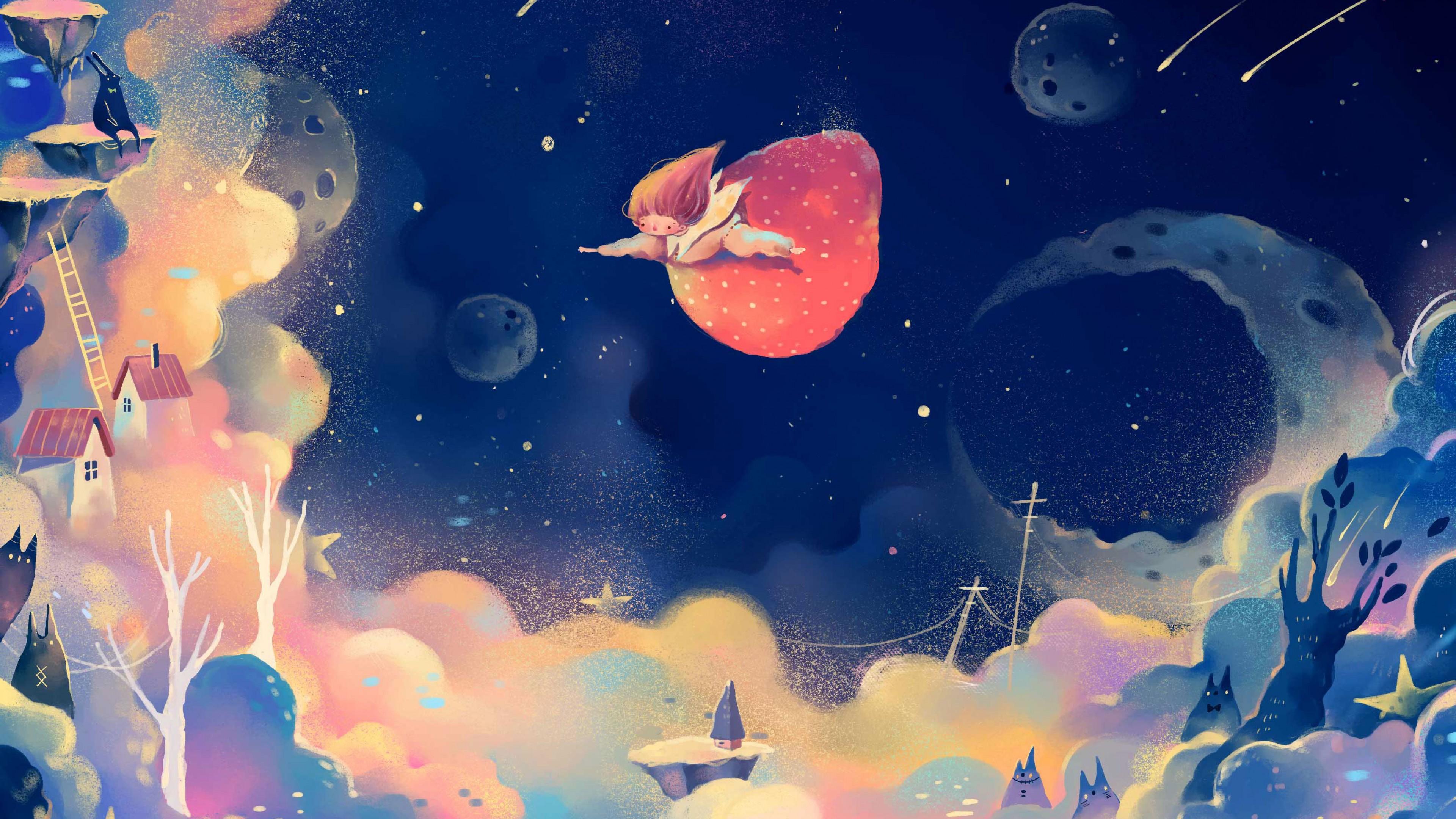 Иллюстрация Ночное небо в золотых звездах и летящей волшебницей в сказочный город