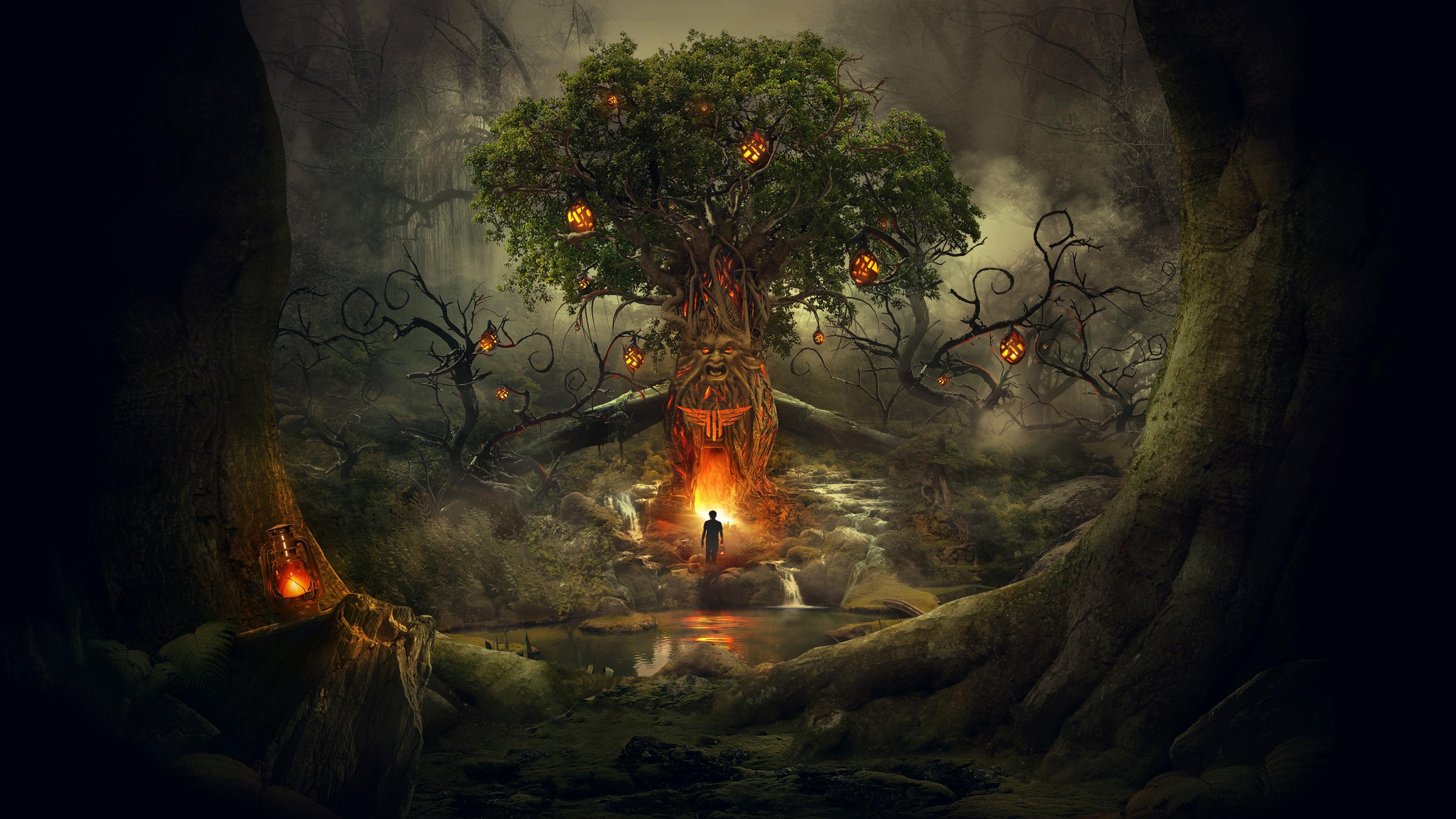 Призрачный лес в туманной дымке со сверкающими фонарями и демоном у костра