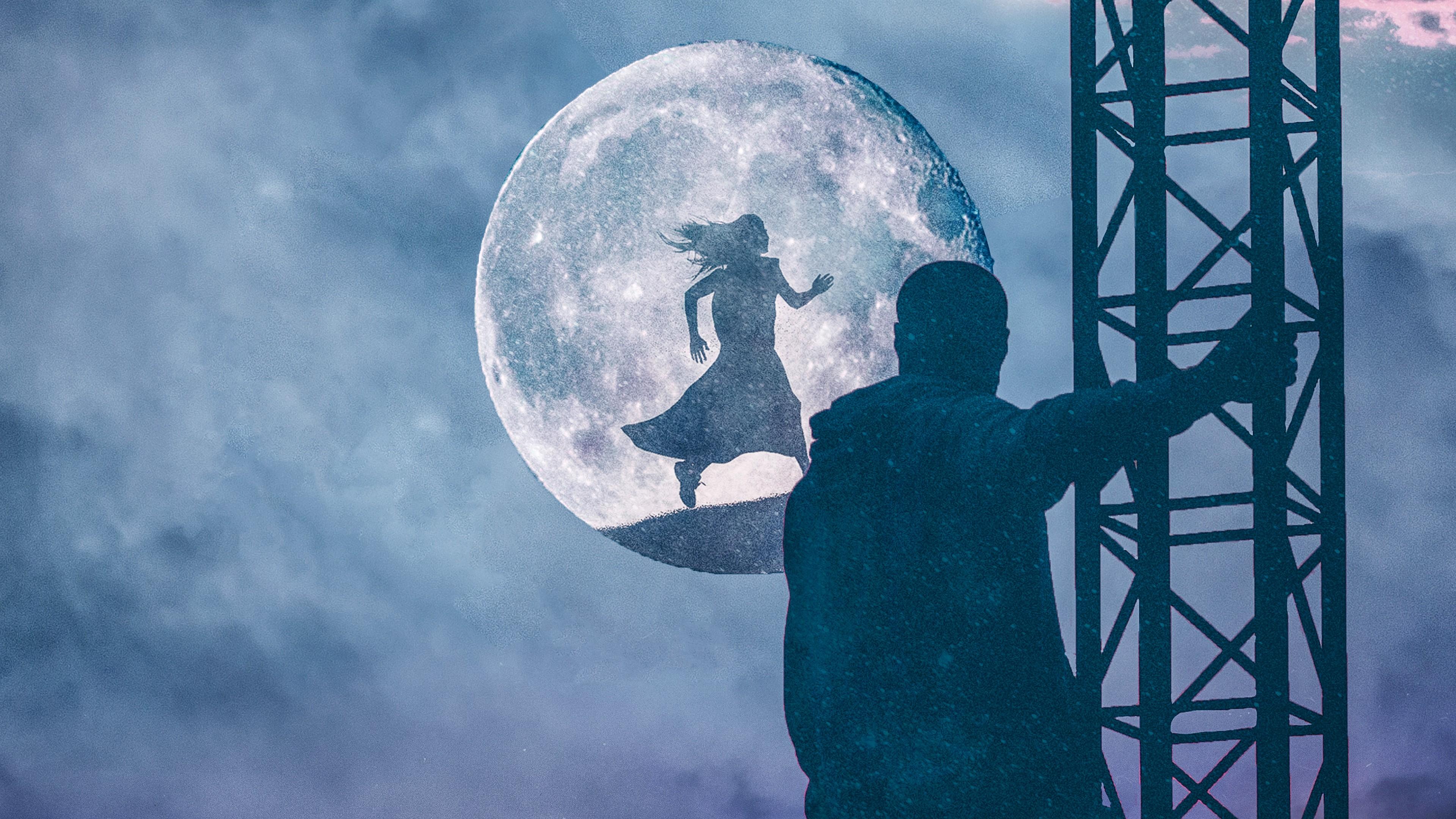 Лестница в небеса с влюбленным и луна с силуэтом девушки