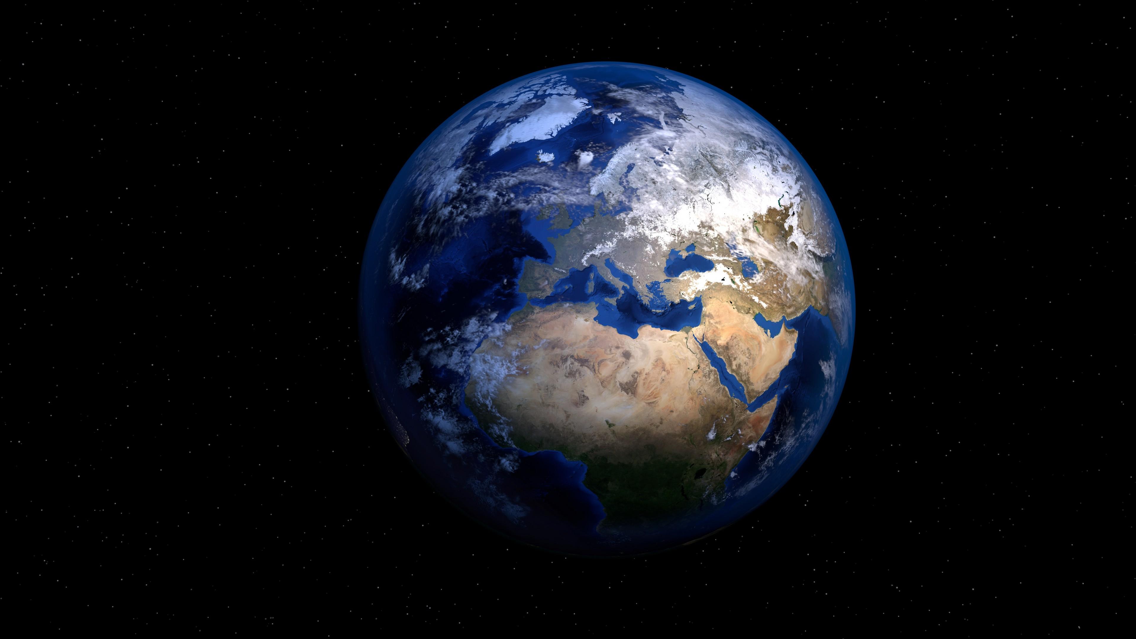 Планета Солнечной системы-Земля в космической Вселенной искрящихся звезд