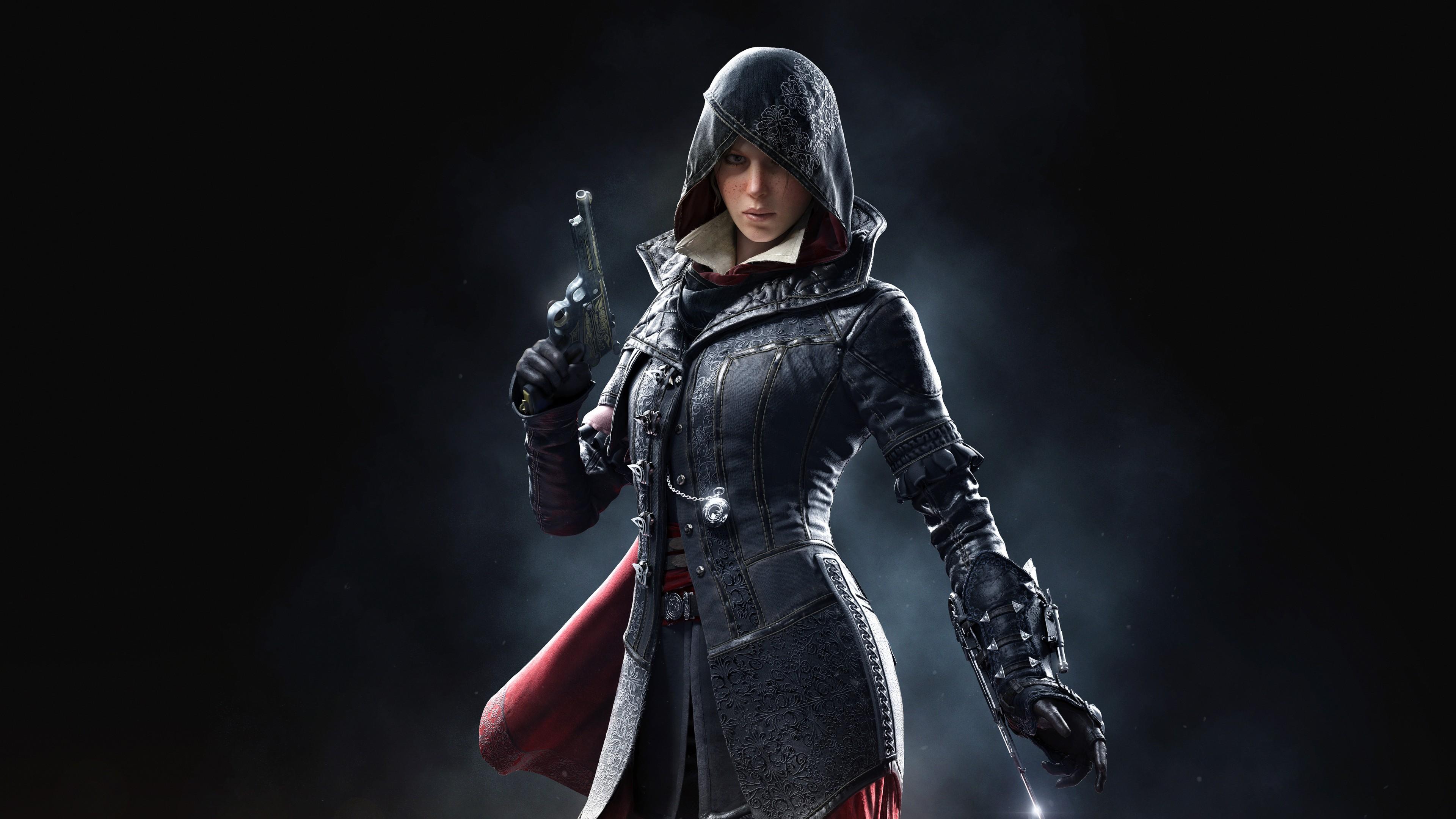 Стройная фигура девушки-воина в черном шлеме ,плаще с оружием