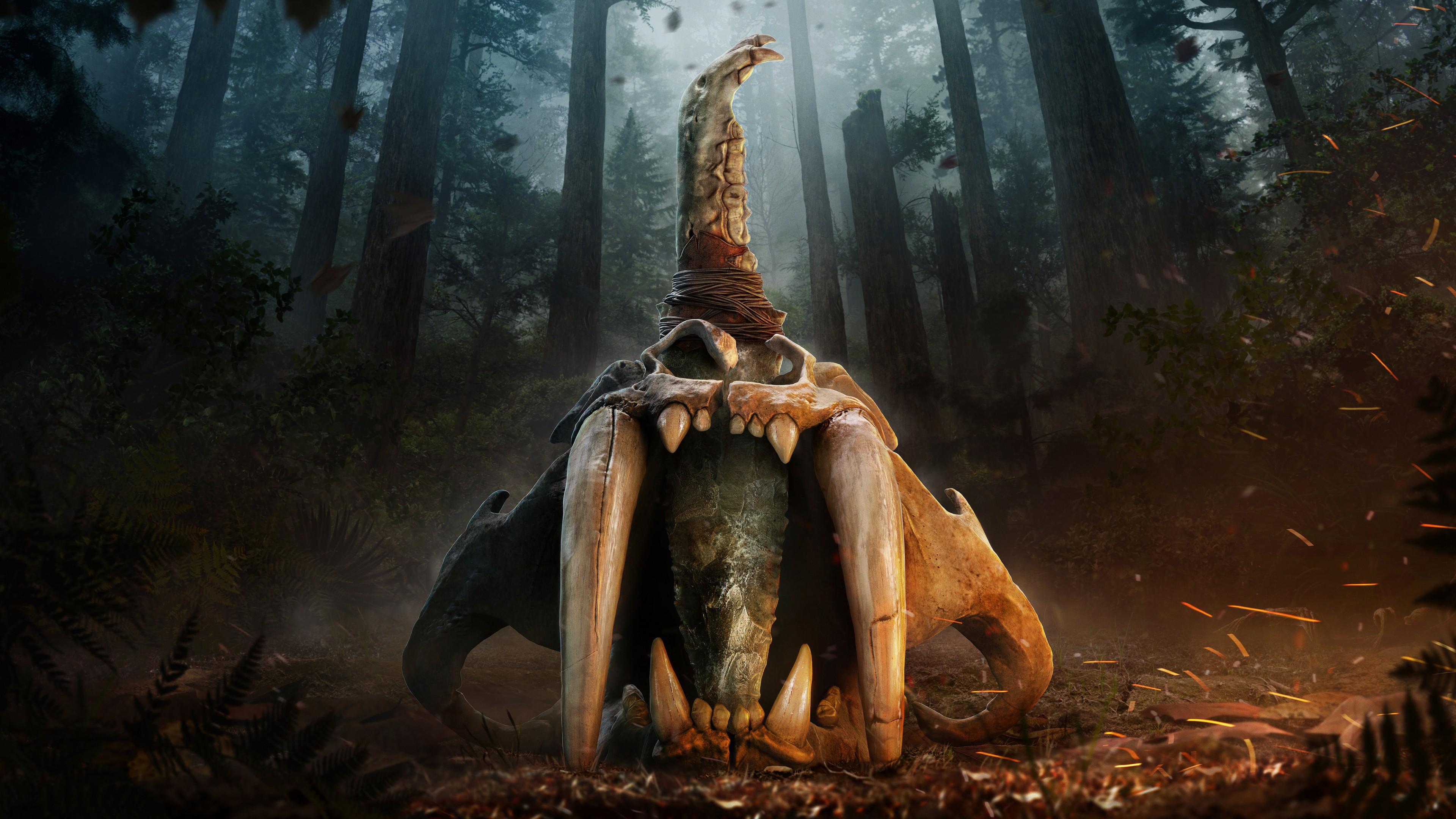 Фантастически страшное чудовище с бивнями,клыками и искрами огня в дремучем лесу