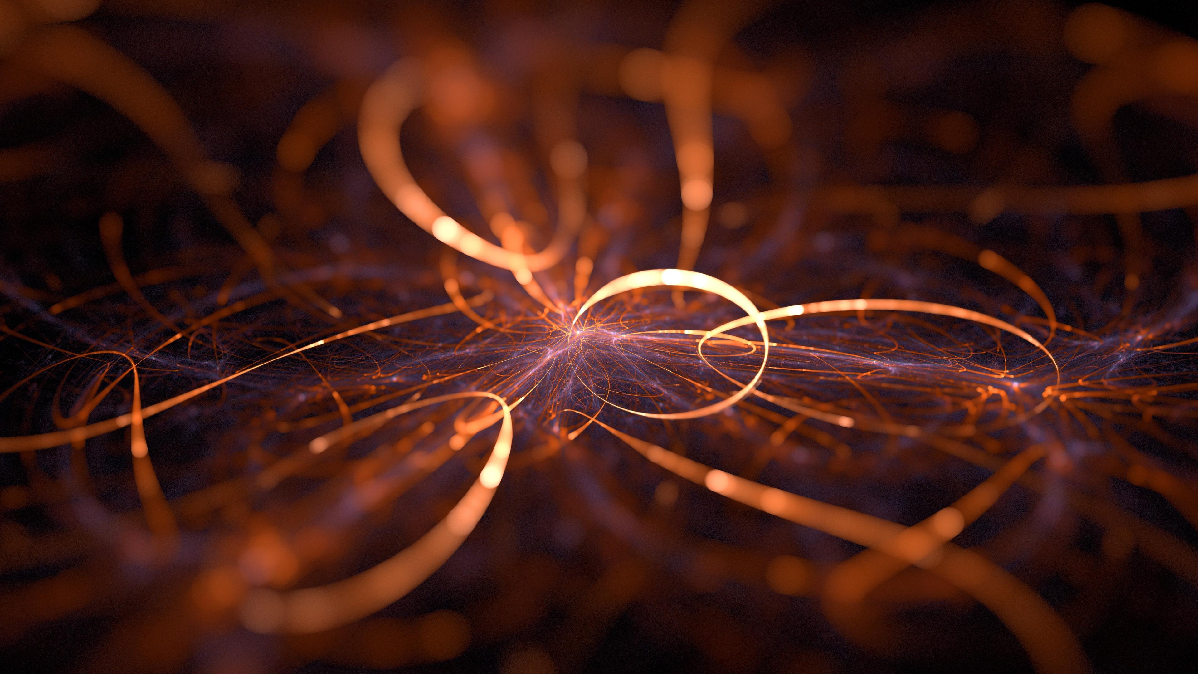 Абстракция огненные кольца стружки с неоновым разрядом