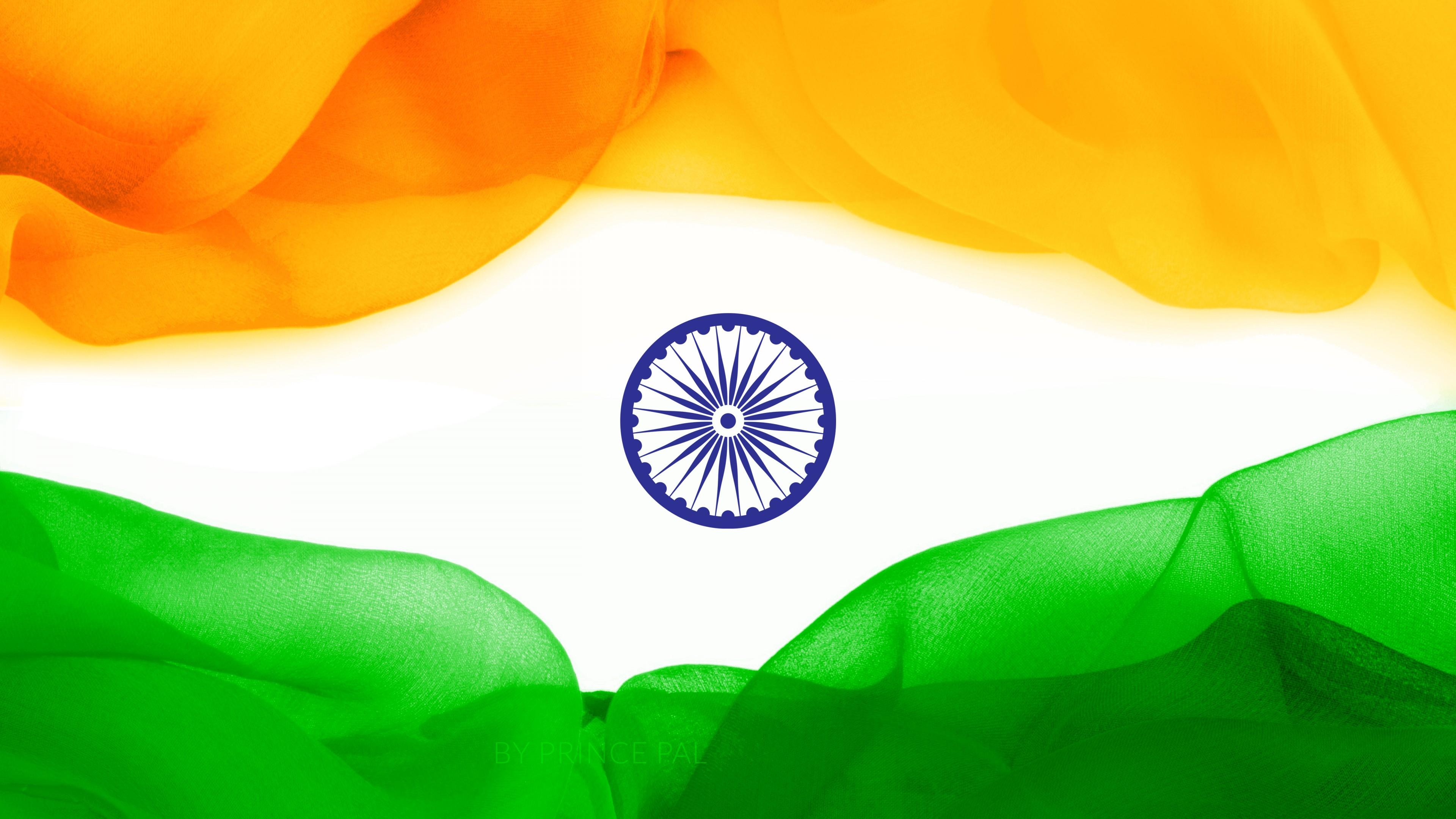 Трехцветный флаг Индии с темно-синим колесом