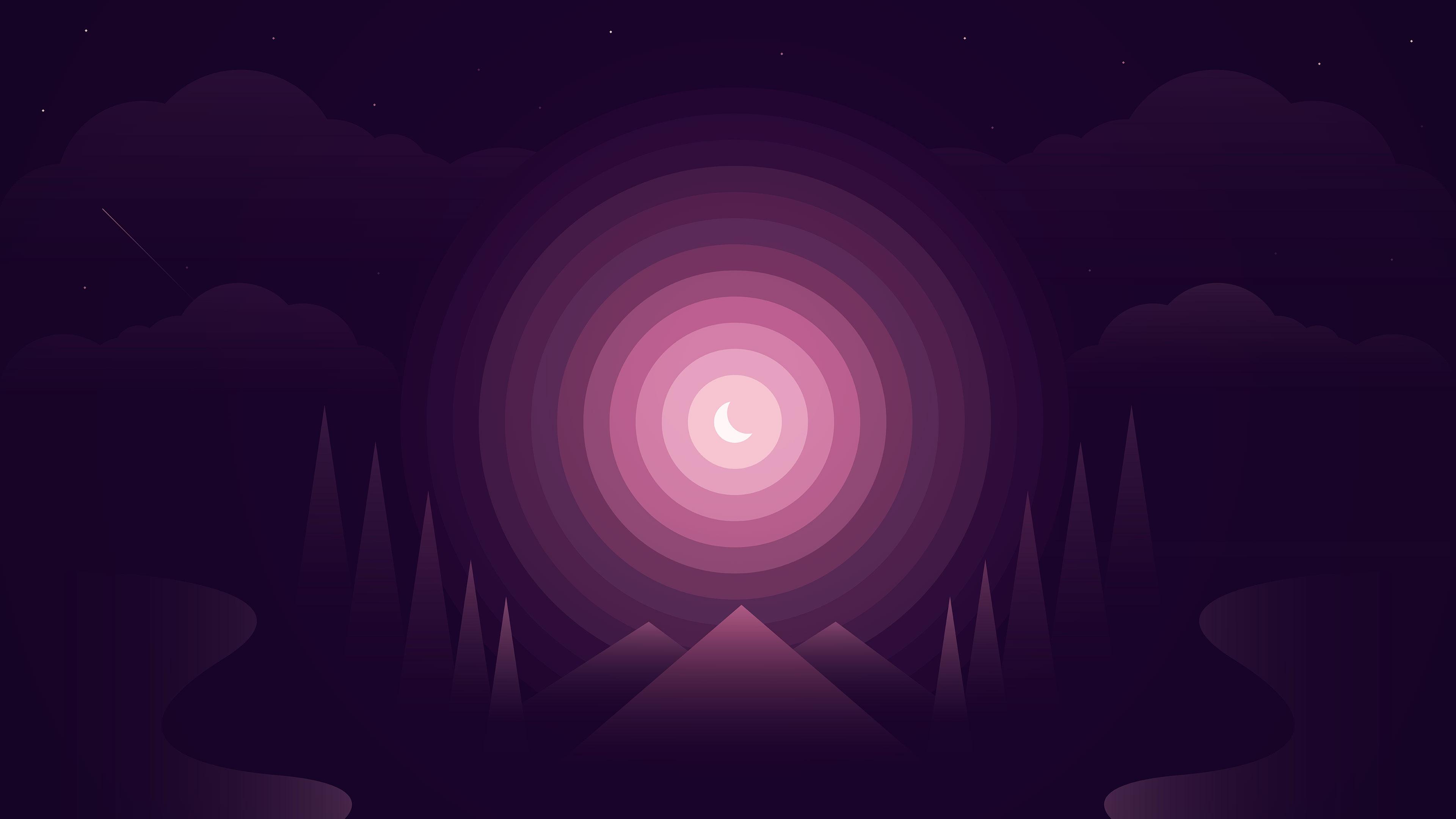 Иллюзия лунного излучения в неоновых кругах на звездном небосводе