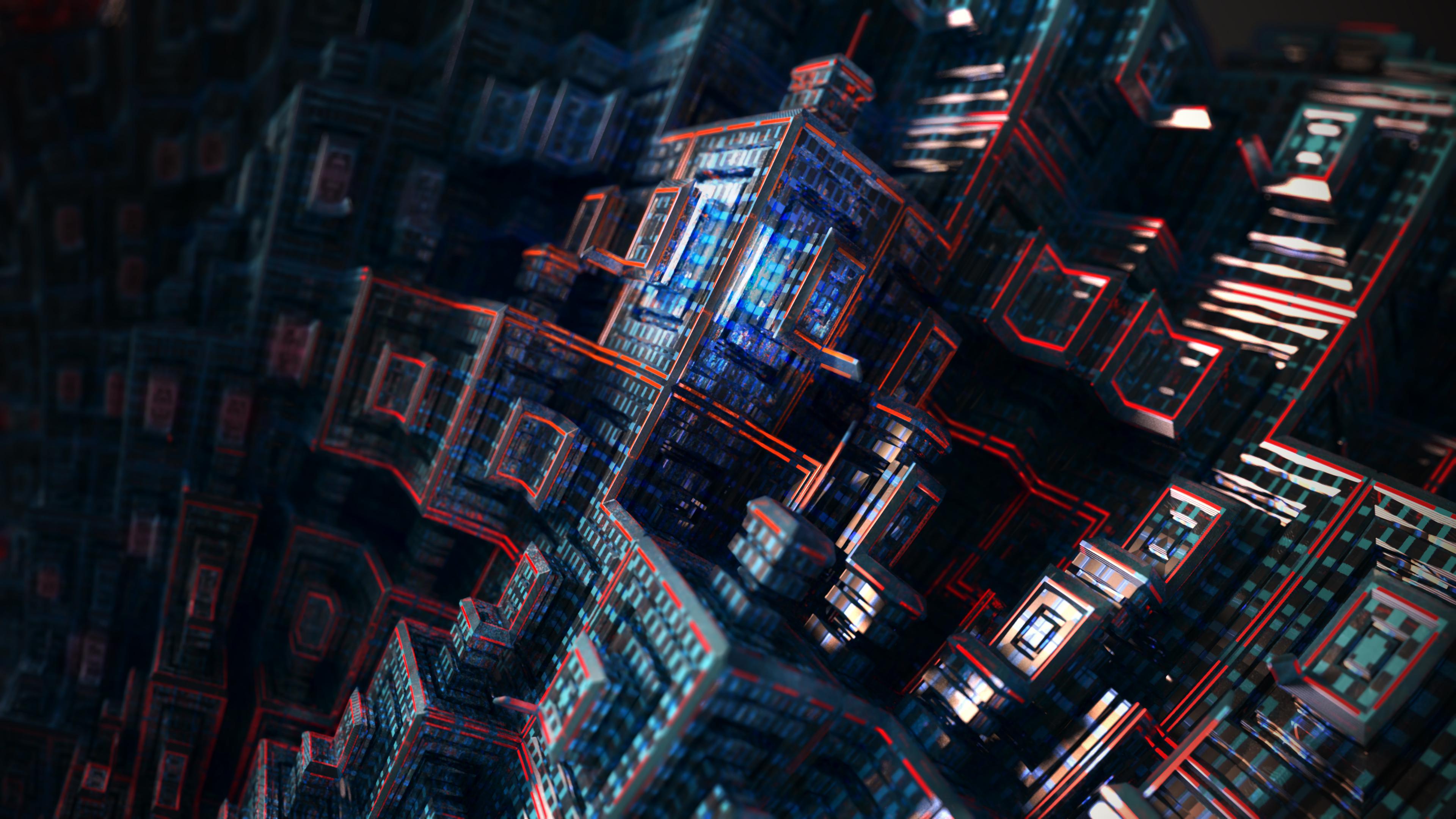 Абстрактная композиция геометрических форм с неоновой подсветкой