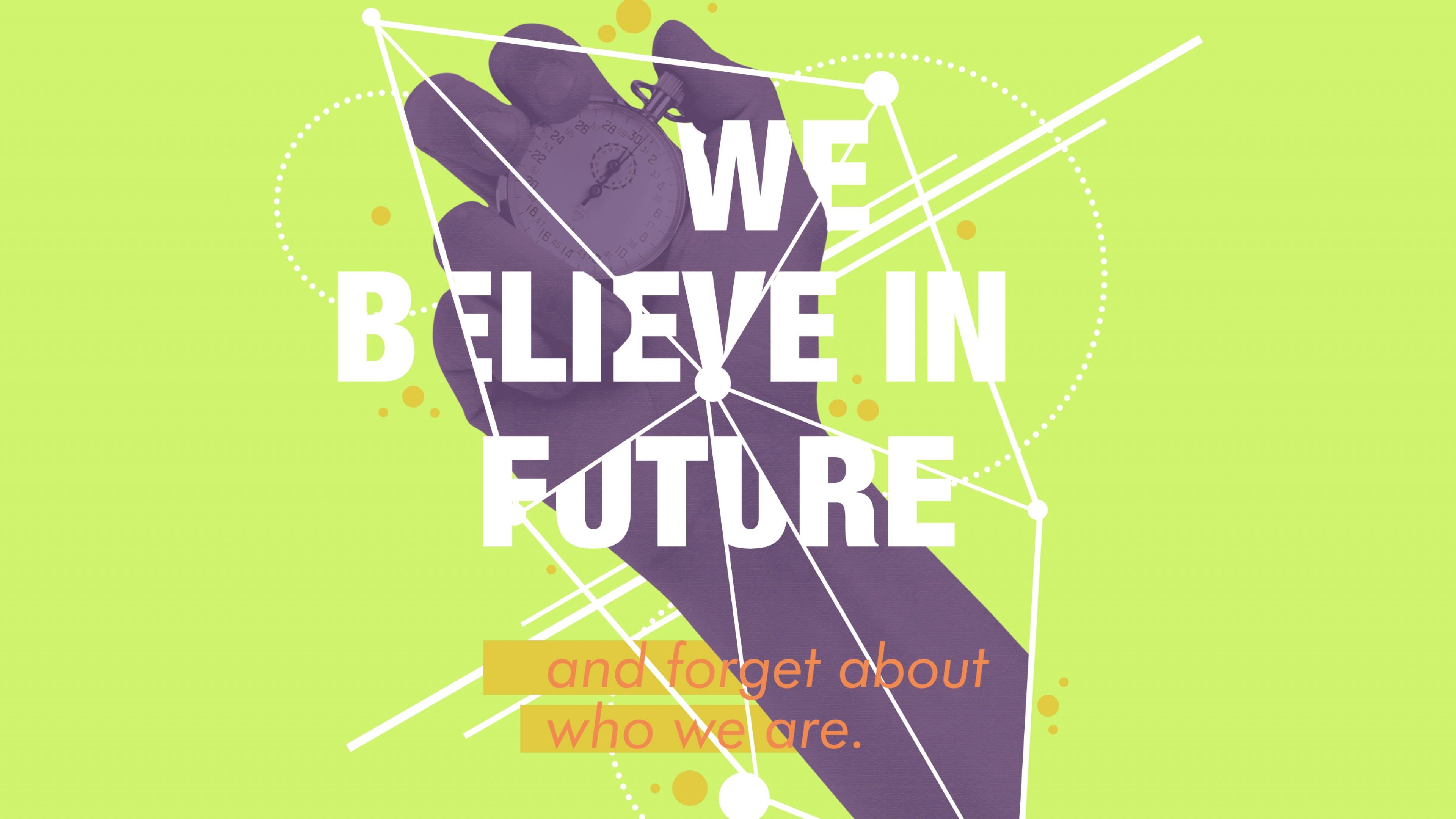 """""""Верить в будущее""""-рекламный плакат - рука с секундомером в геометрических фигурах"""