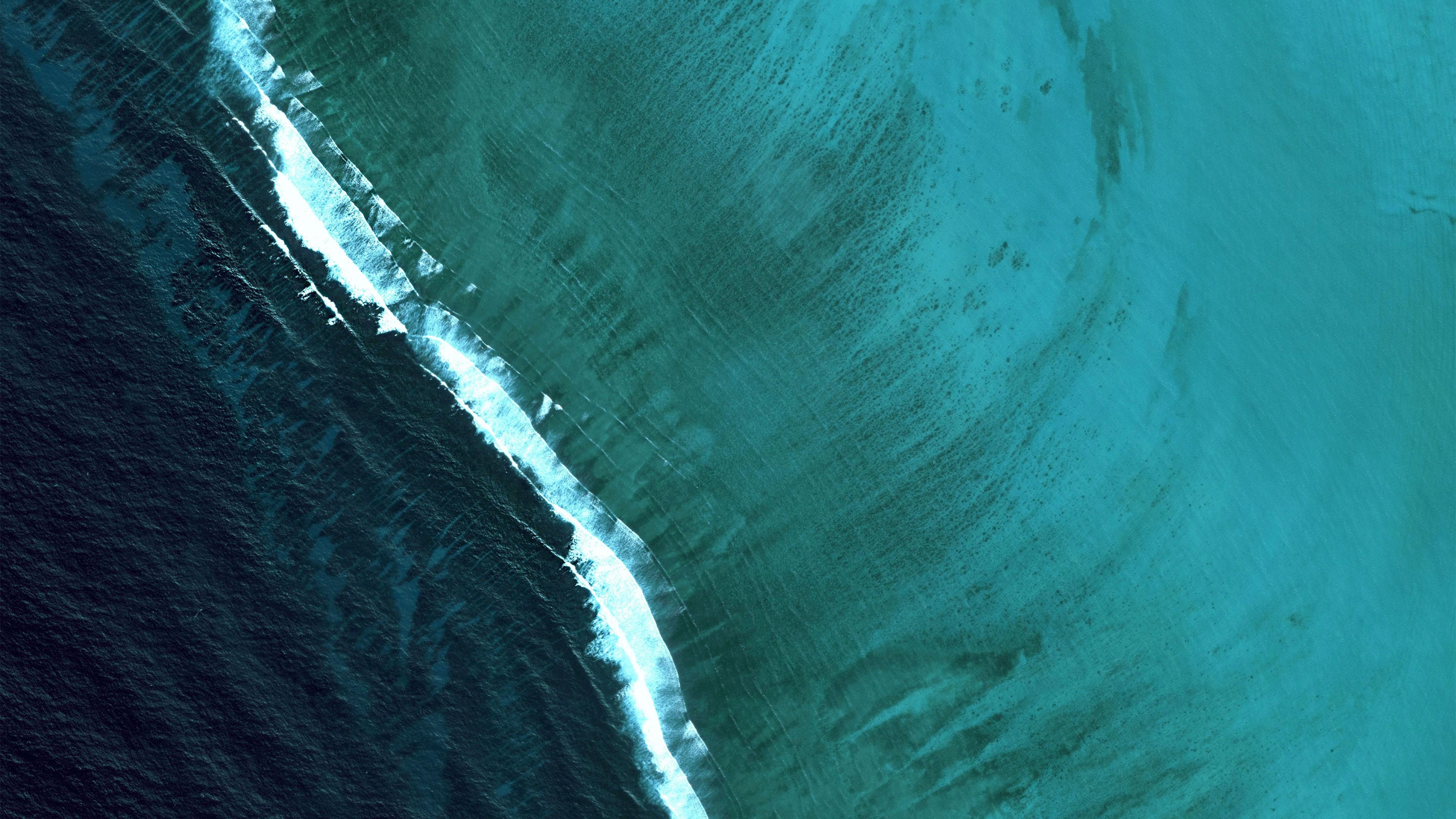 Волнообразный бирюзовый и ступенчатый темно-синий с белой полосой фон