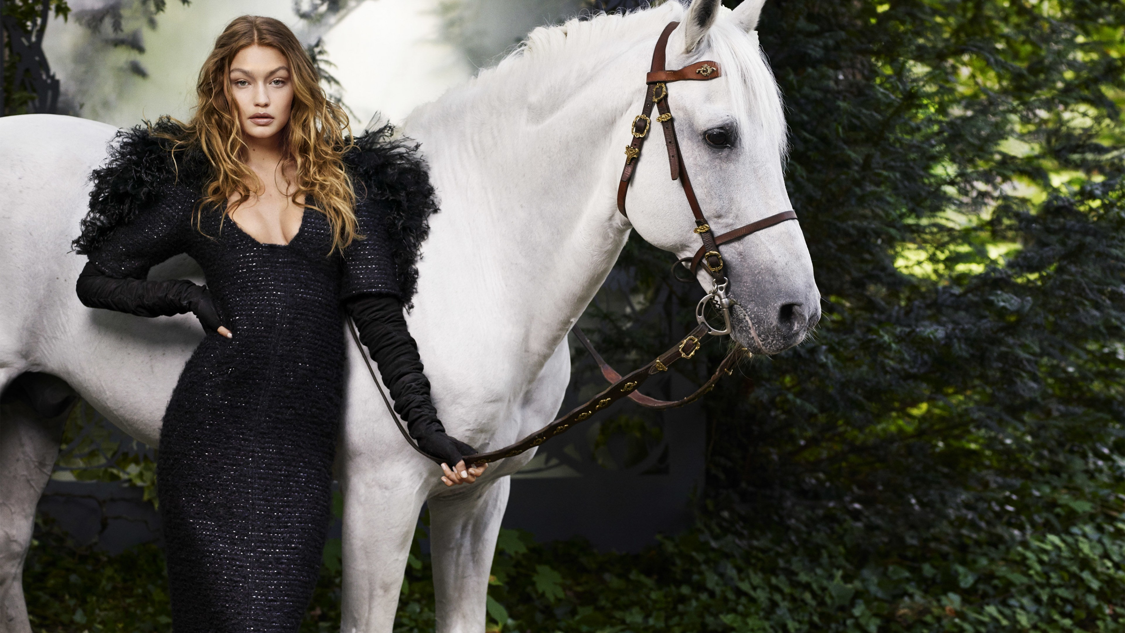 Блондинка в роскошном черном платье на фоне белоснежной лошади