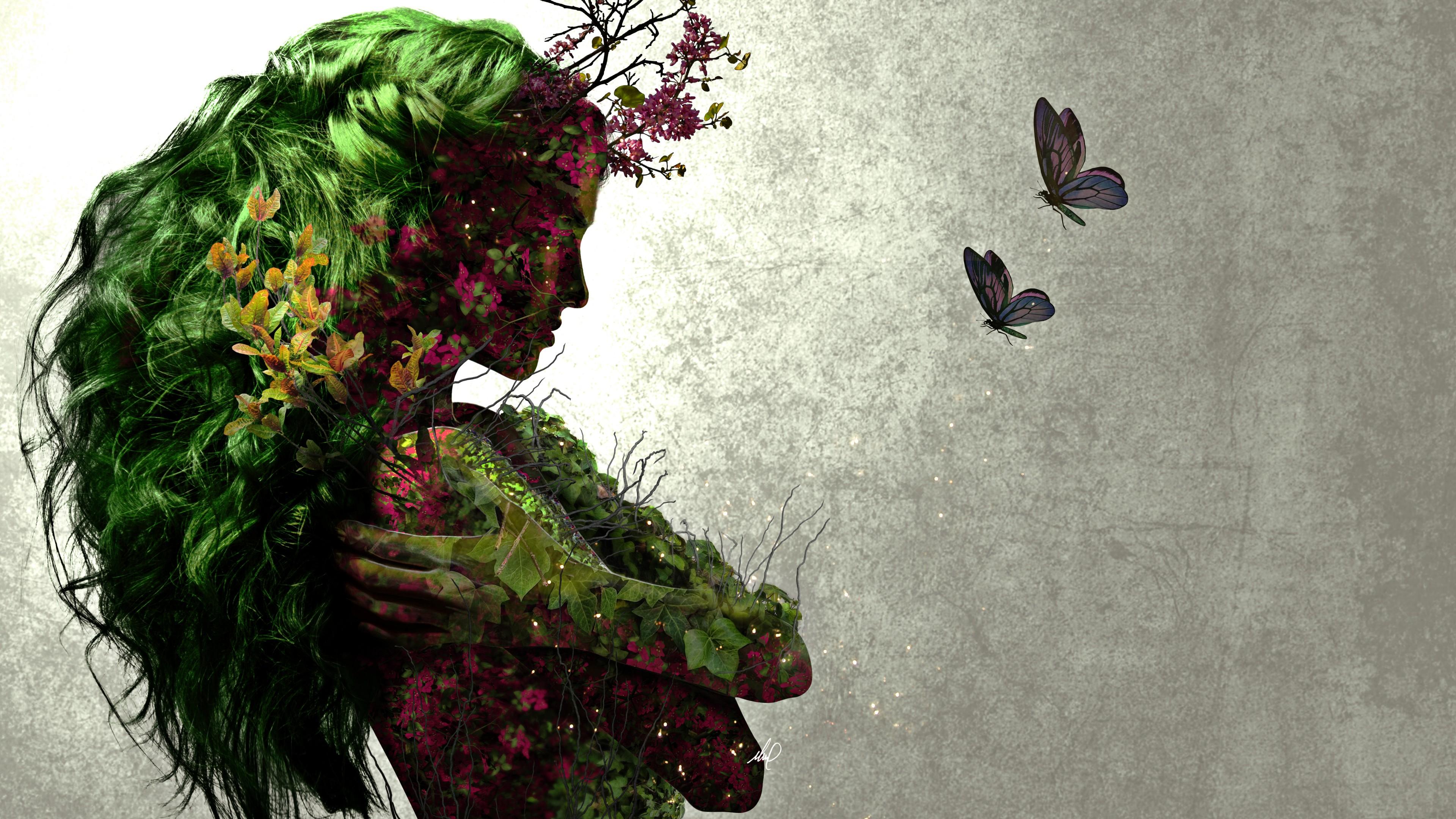Профиль девушки с зелеными волосами и цветами на фоне порхающих бабочек