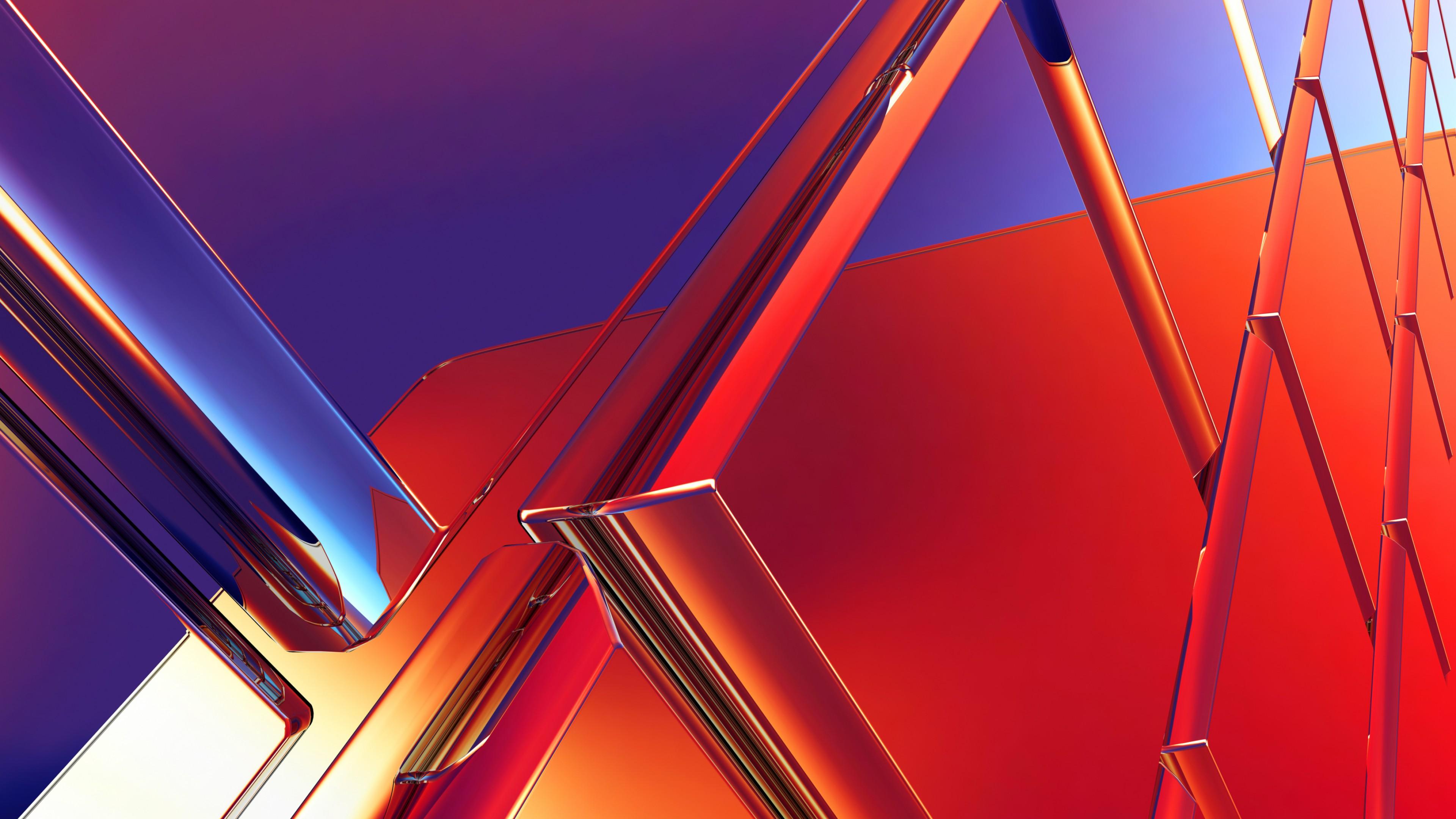 Металлические геометрические конструкции в красно-синих тонах