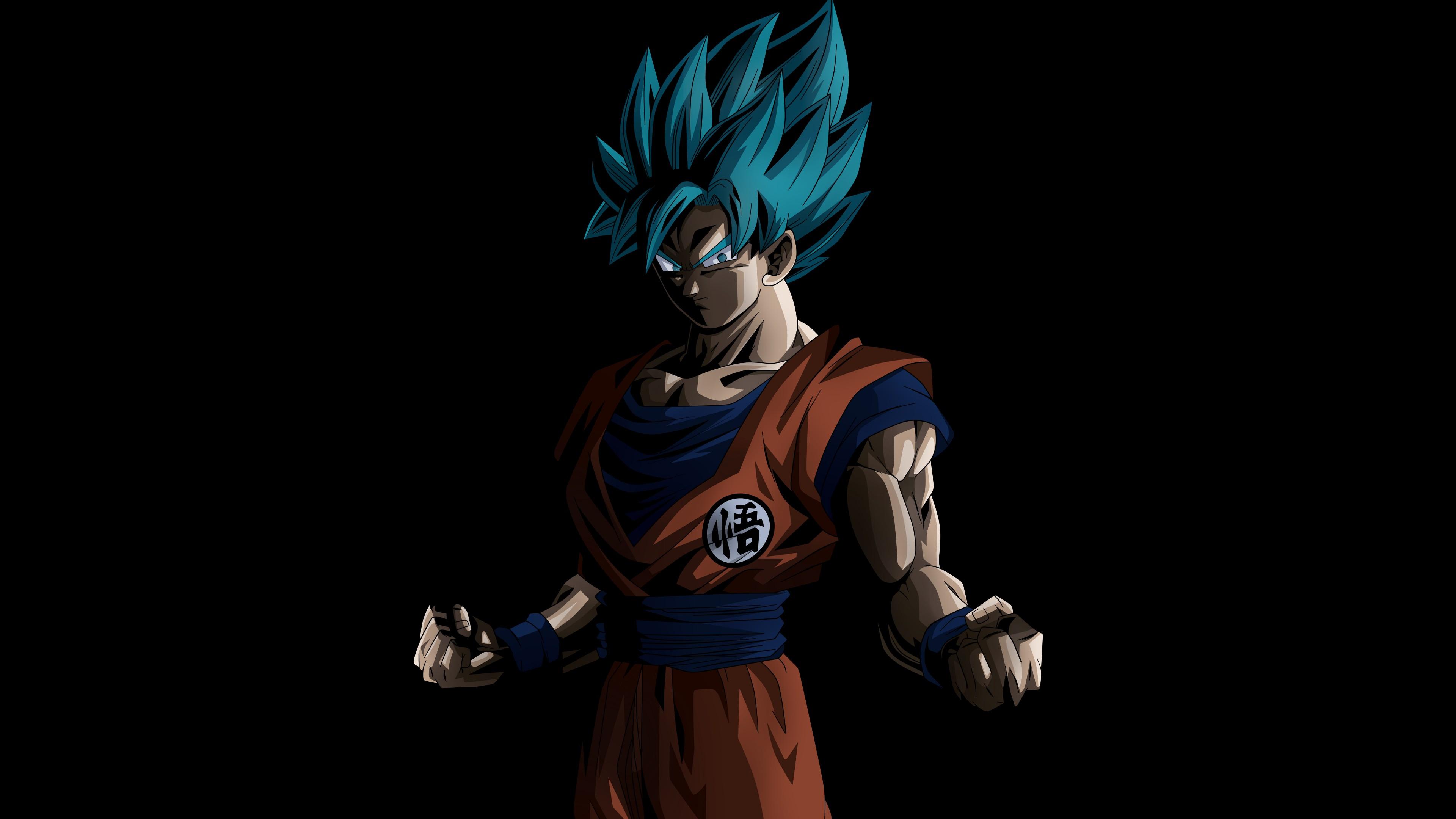 Воин с синими волосами ,голубыми глазами и сжатыми кулаками на черном фоне