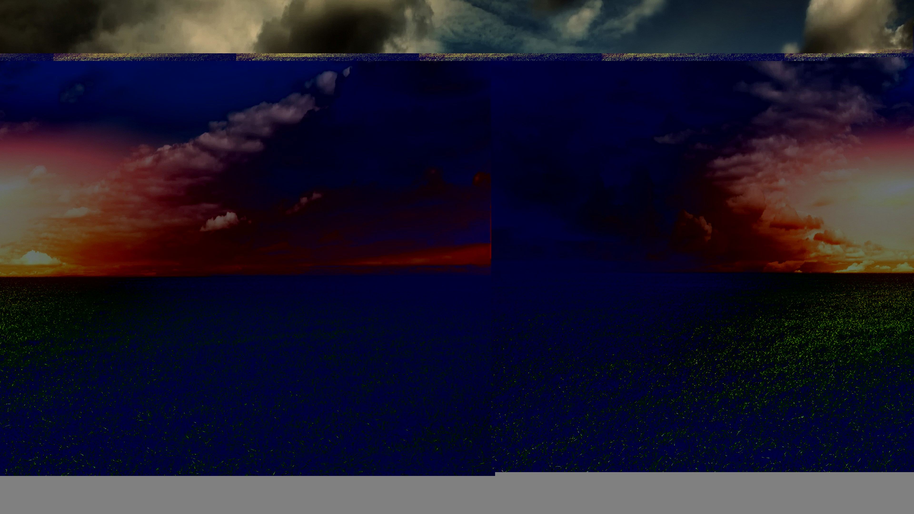 Розово-желтое сияние небосвода накрывают тяжелые черные тучи в бушующем океане