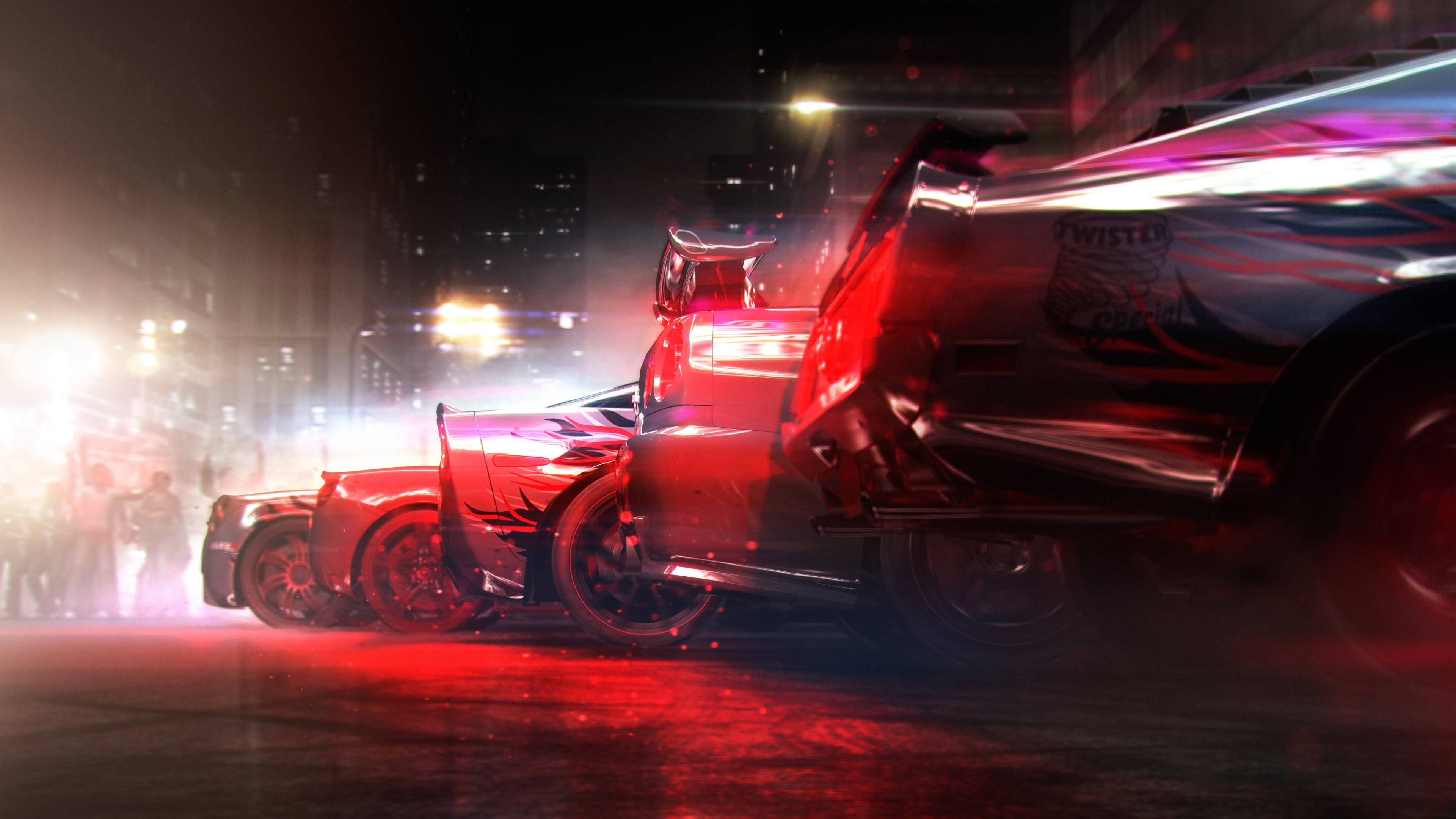 Блестящие гоночные автомобили в красных и неоновых огнях ночных автогонок