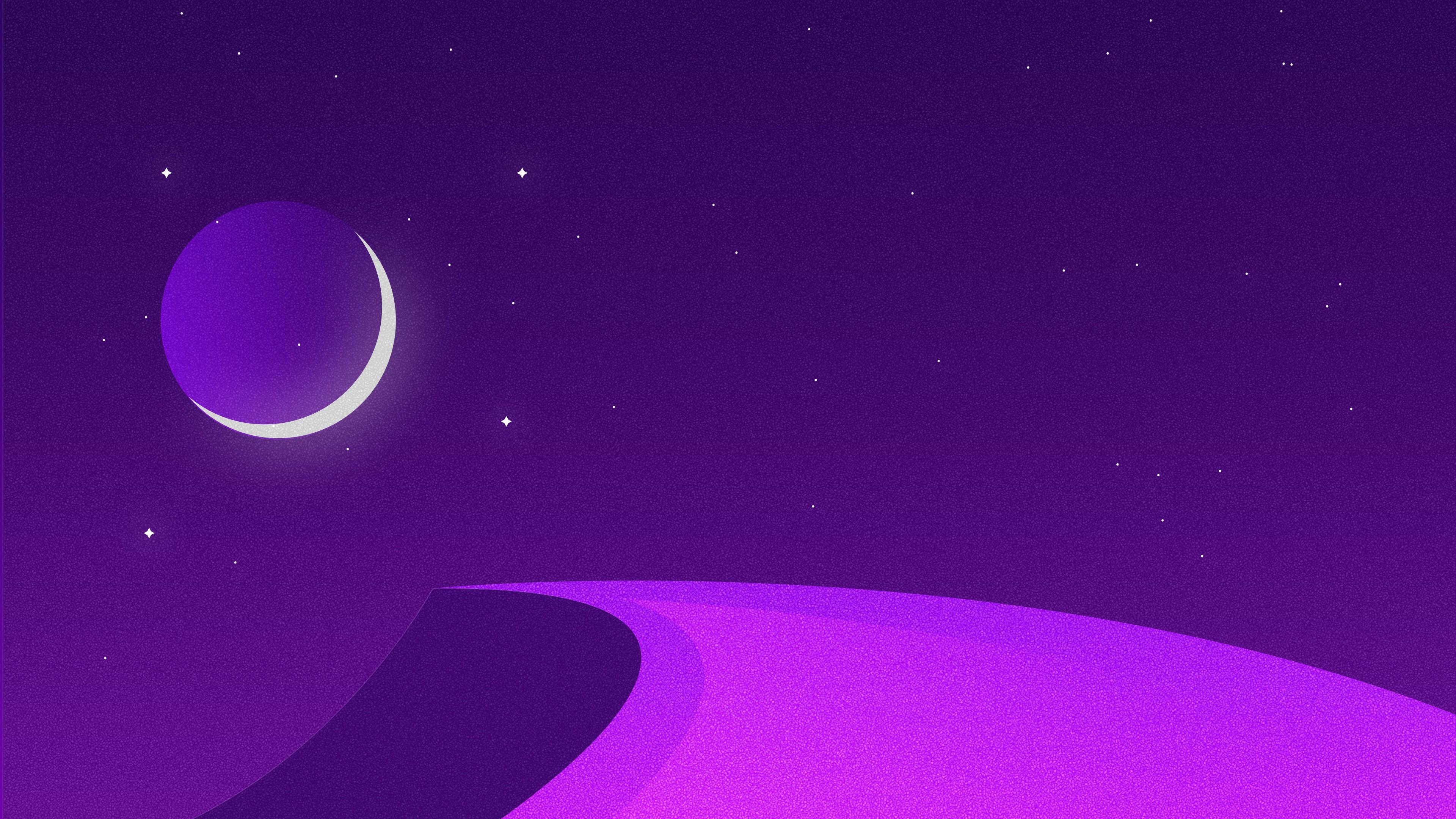 Звездная ночь могущества в фиолетово-пурпурных цветах и сияющего полумесяца