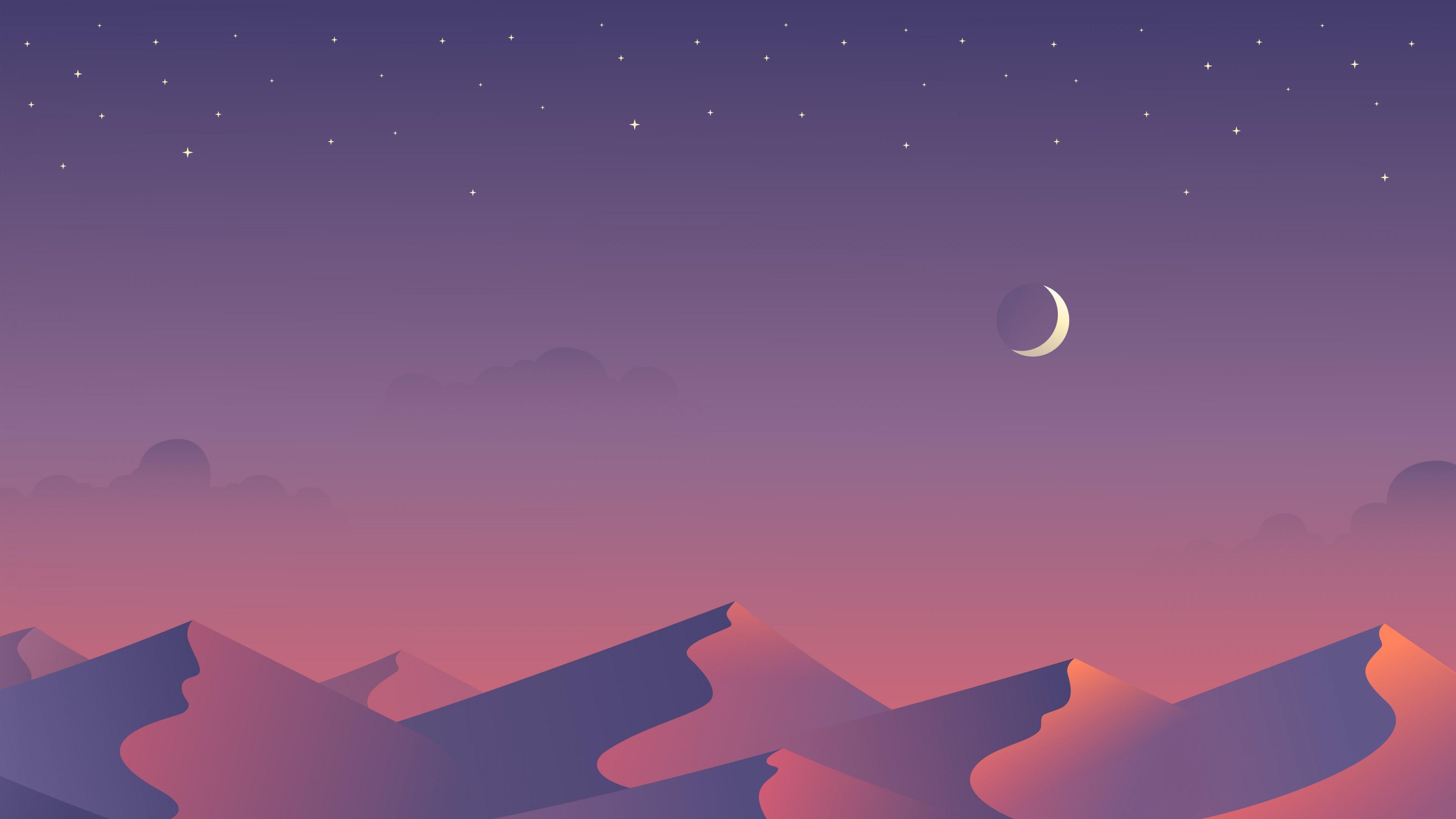 Свет луны на пурпурном звездном небосводе освещает рельефные дюны знойной пустыни