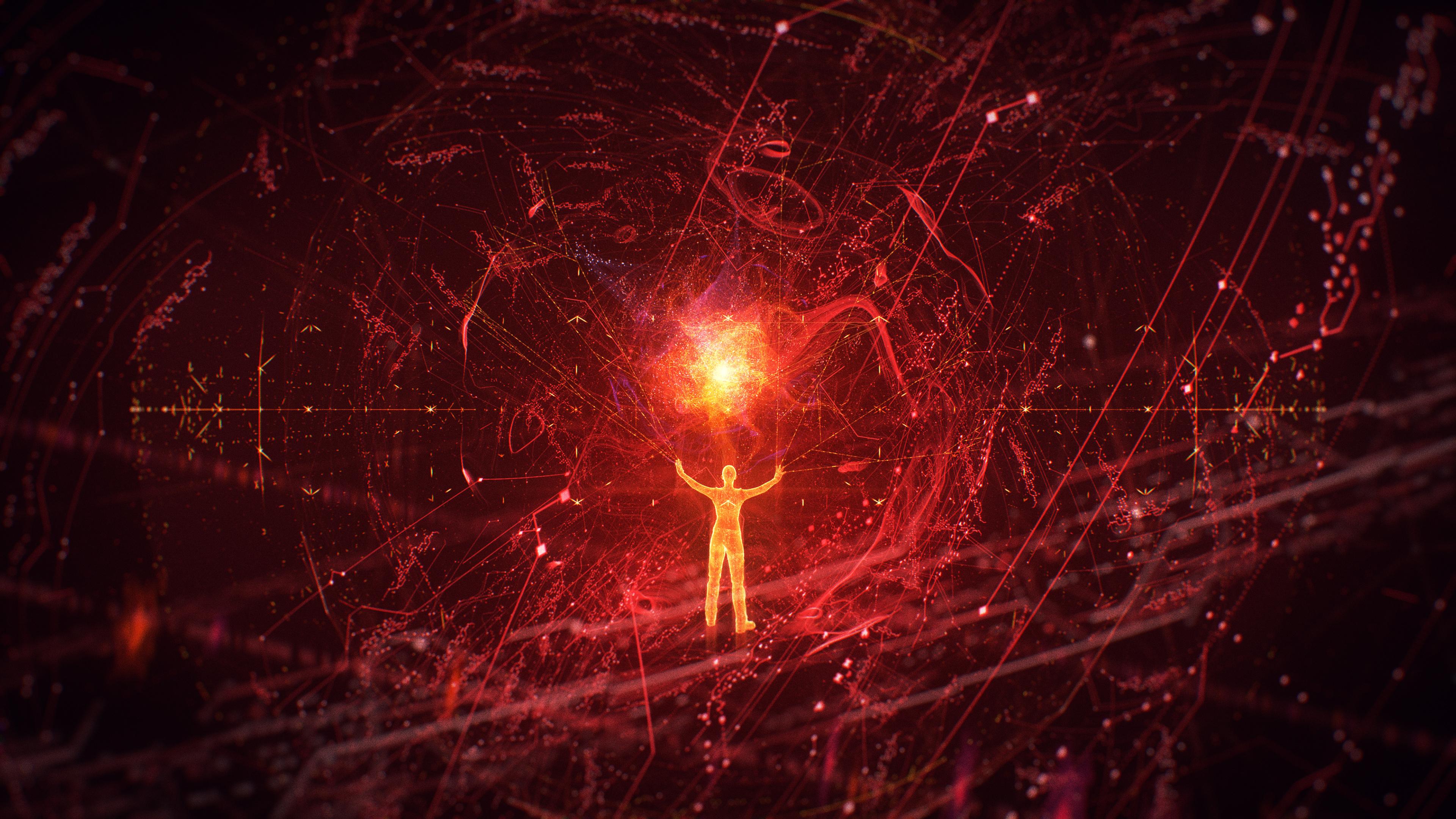 Сверхчеловек в паутине световых,сияющих импульсов и разрядов
