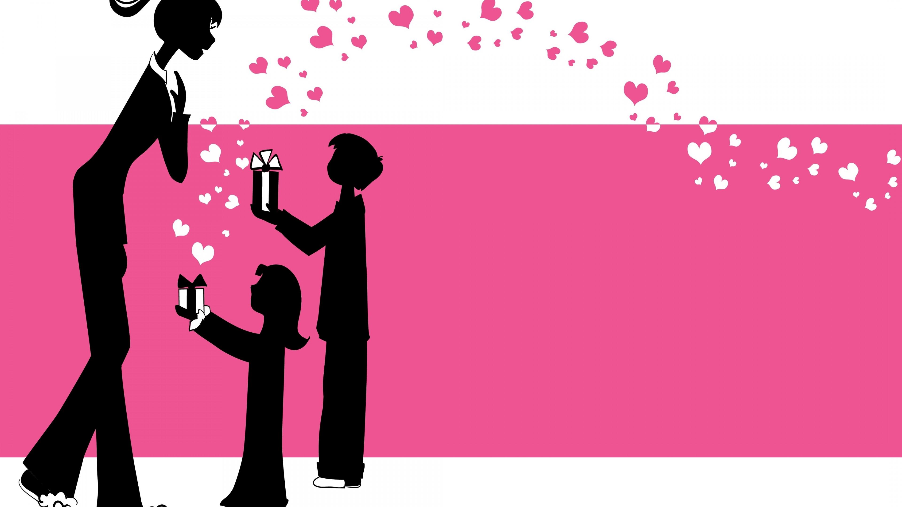 """Поздравительная открытка с бесконечным шлейфом сердечек и подарками""""С днем мамы"""""""