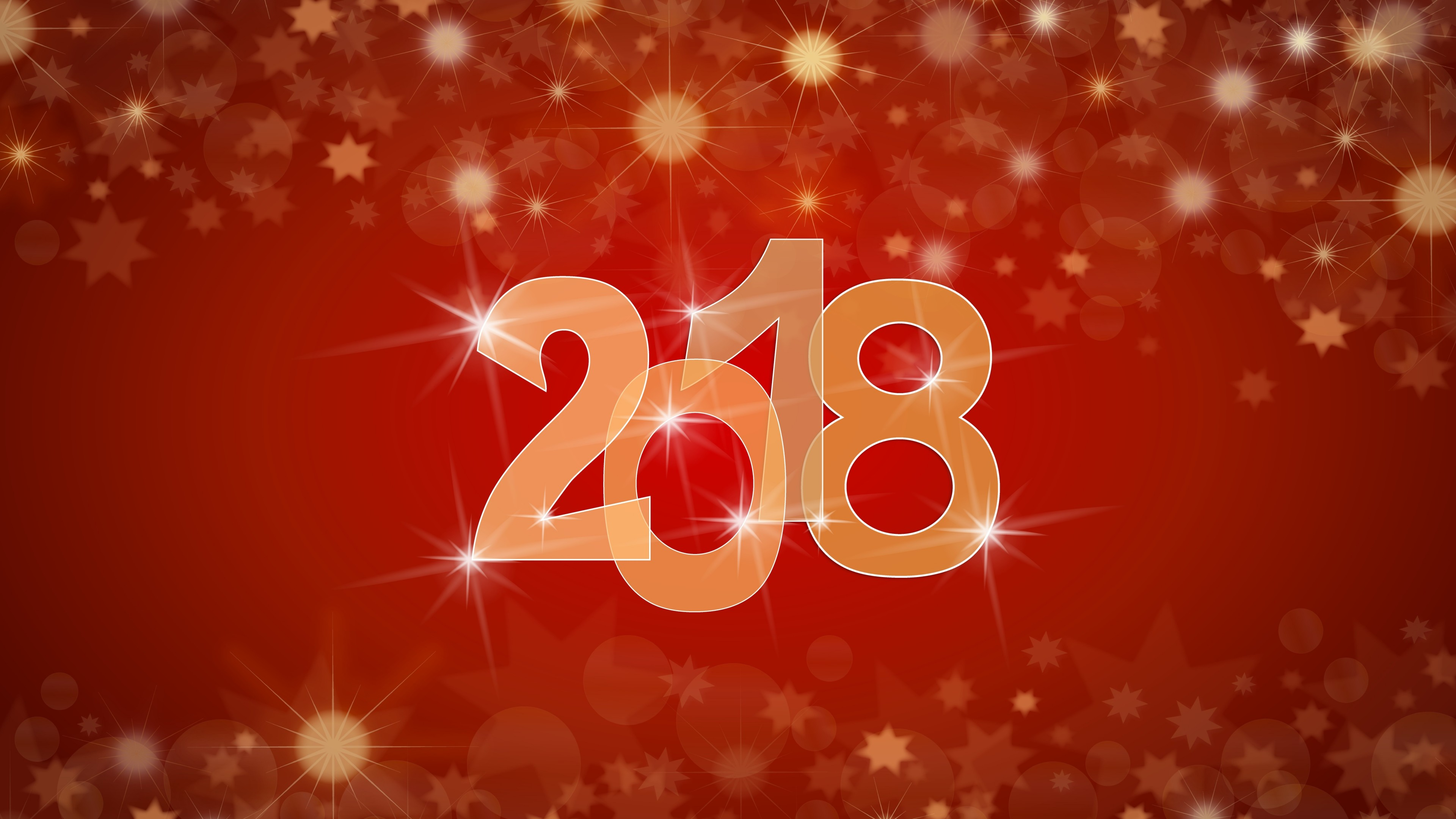 Новогодняя открытка с сияющими снежинками,звездочками и блестящими цифрами 2018