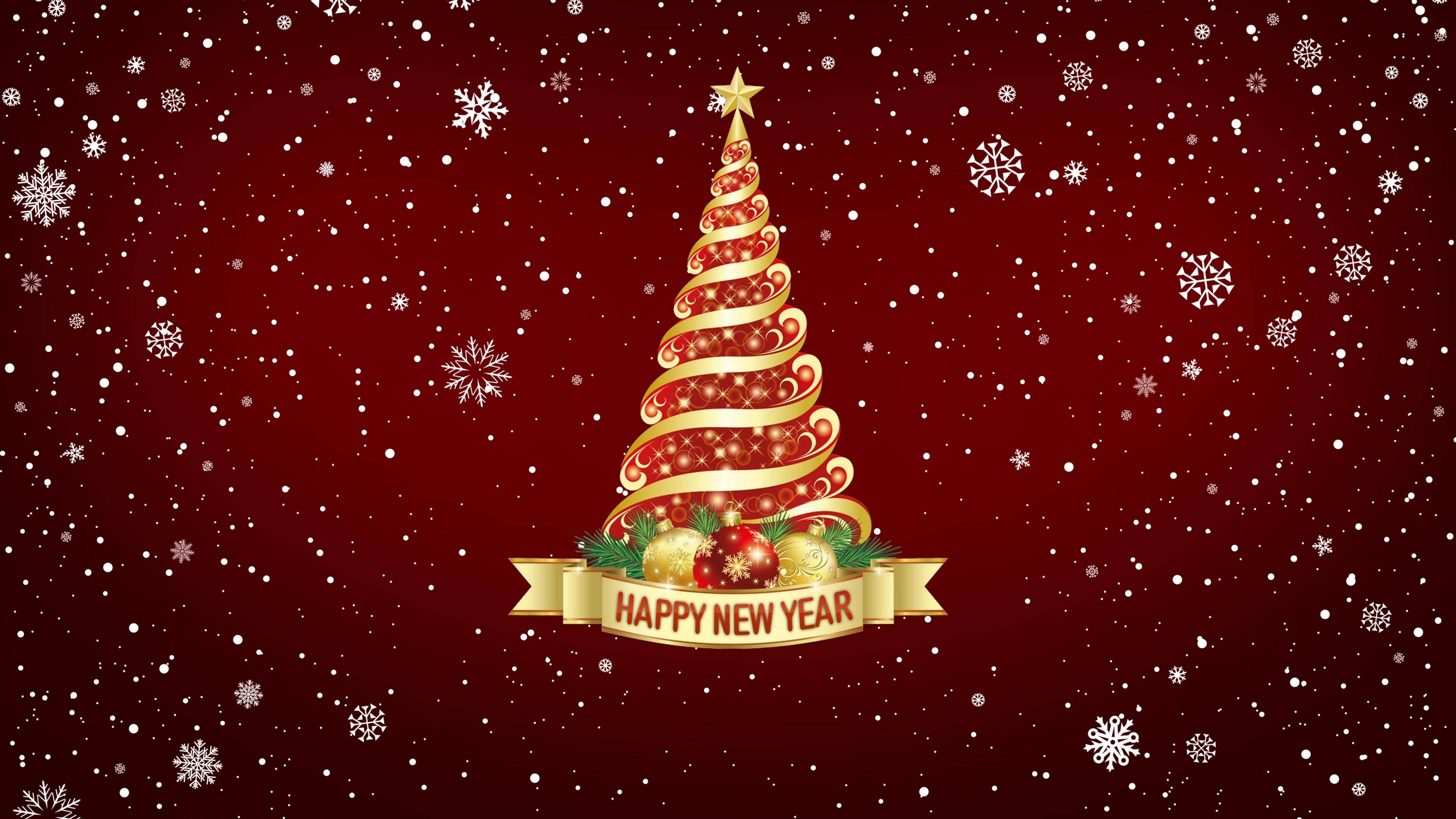 Нарядная елка на фоне сказочной Новогодней ночи с блестящими снежинками и звездами